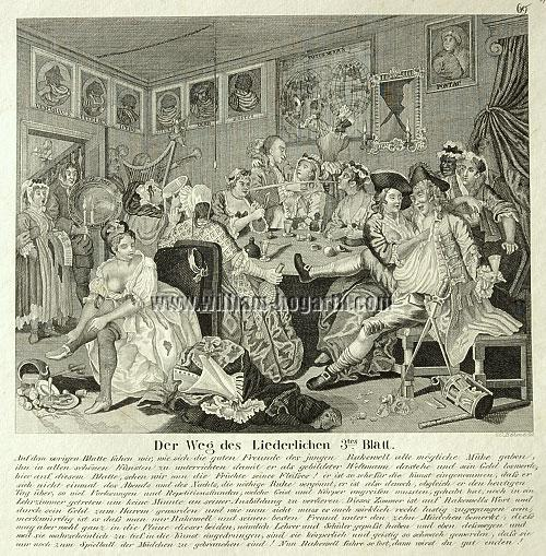 William Hogarth, Tavern Scene (A Rake's Progress III; lithograph)