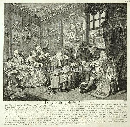 William Hogarth, Ehevertrag (Marriage à la Mode I; Lithographie)