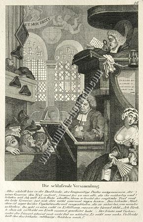 William Hogarth, Sleeping Congregation (lithograph)