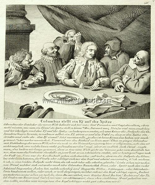 William Hogarth, Columbus breaking the Egg (Lithographie)