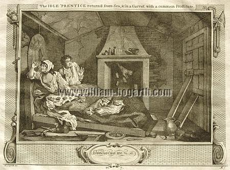William Hogarth, Faulhans Gespenster sehend (Industry + Idleness VII; Riepenhausen)
