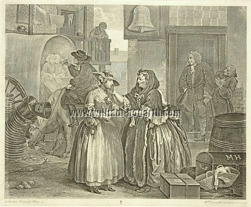 William Hogarth, Ankunft in London (Harlots Progress I)