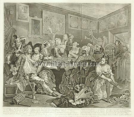 William Hogarth, Tavern Scene (Rakewell III)