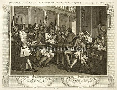 William Hogarth, Tom Idle at the Police Court (Industry + Idleness X; Riepenhausen)