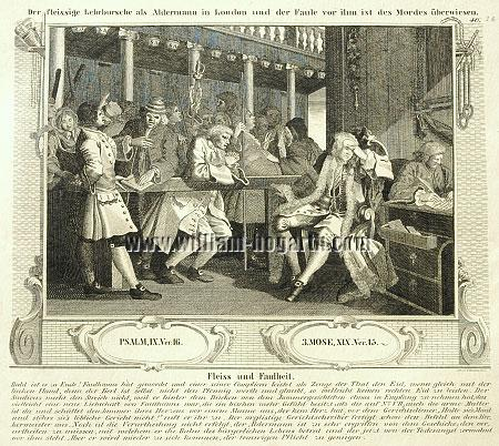 William Hogarth, Tom Idle at the Police Court (Industry + Idleness X; lithograph)