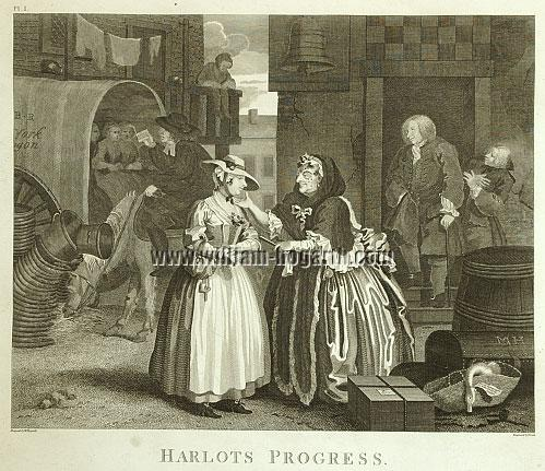 William Hogarth, Ankunft in London (Harlots Progress I; Cook)