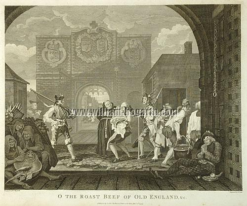 William Hogarth, The Gate of Calais (Roast Beef of Old England; Cook)