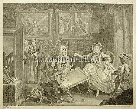William Hogarth, Quarrels with the Jew Protector (Harlot's Progress II; Riepenhausen)
