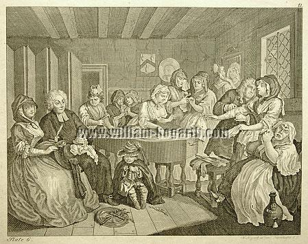 William Hogarth, Funeral Company (Harlot's Progress VI; Riepenhausen)