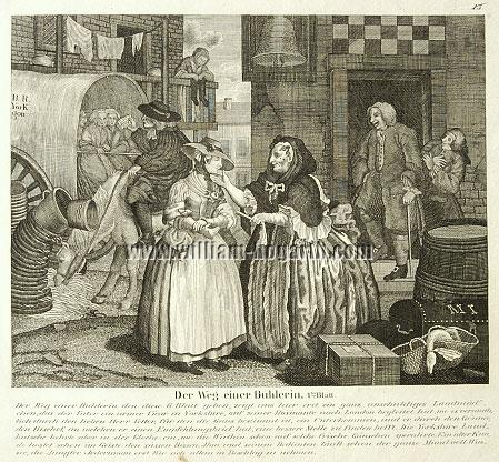 William Hogarth, Ankunft in London (Harlot's Progress I; Lithographie)