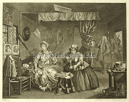William Hogarth, Apprehended by a Magistrate (Harlot's Progress III; Riepenhausen)