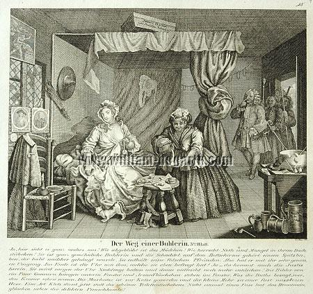 William Hogarth, Apprehended by a Magistrate (Harlot's Progress III; lithograph)
