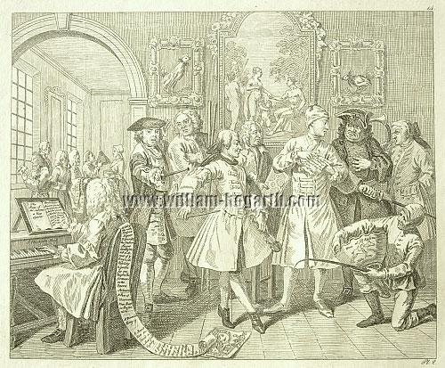 William Hogarth, Rakewell with Artists and Professors (Rahl)