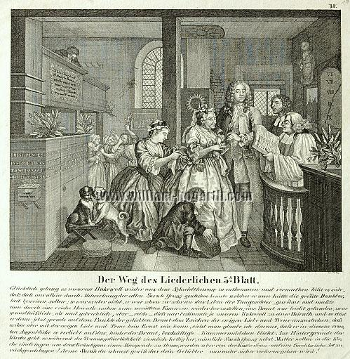 William Hogarth, Rakewell marries an Old Maid (Rake's Progress V; lithograph)