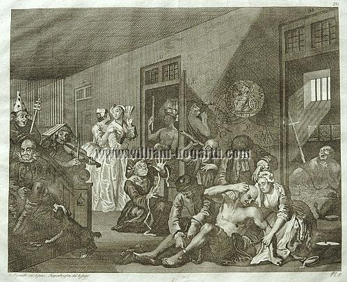William Hogarth, Scene in a Madhouse (Rake's Progress VIII; Riepenhausen)