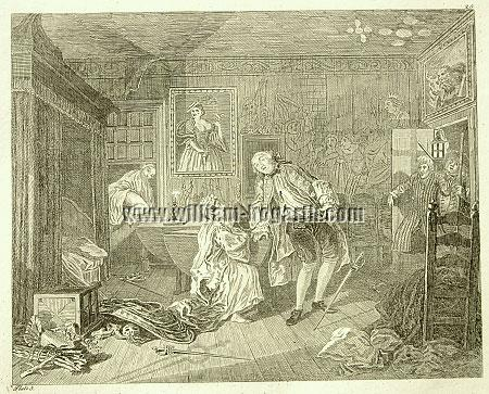 William Hogarth, Death of Count Squanderfield (Marriage à la Mode V; Rahl)