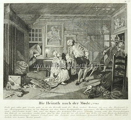 William Hogarth, Death of Count Squanderfield (Marriage à la Mode V; lithograph)
