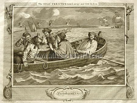 William Hogarth, Tom Idle sent to Sea (Riepenhausen)