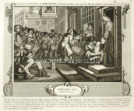 William Hogarth, Goodchild married to his Master's Daughter (Industry + Idleness VI; lithograph)