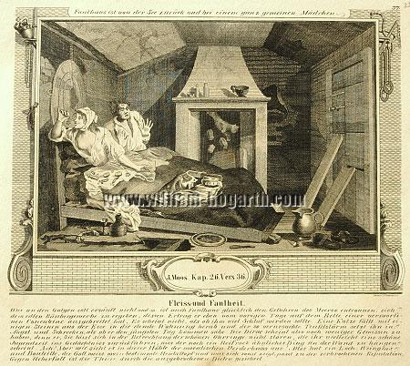 William Hogarth, Faulhans Gespenster sehend (Industry + Idleness VII; Lithographie)