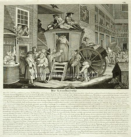William Hogarth, A Country Inn Yard (lithograph)