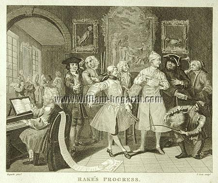 William Hogarth, Rakewell with Artists and Professors (Cook small)