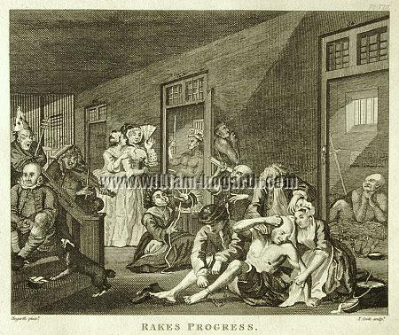 William Hogarth, In a Madhouse (Cook small)