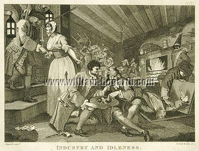 William Hogarth, Tom Idle betrayed by a Whore and taken (Cook small)