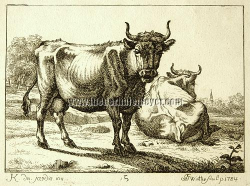 Joseph Georg Wintter, 2 Cows after Dujardin