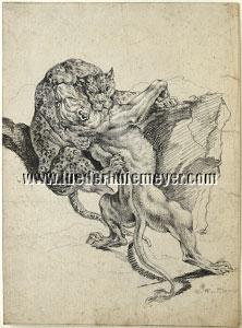 Joseph Georg Wintter, Panther and Lioness locked in Fight